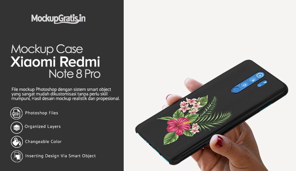 Mockup Gratis Hardcase 3D Xiaomi Redmi Note 8 Pro