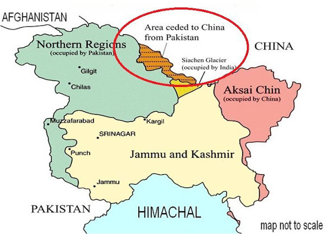 Kashmir Map Where Area Ceded to China