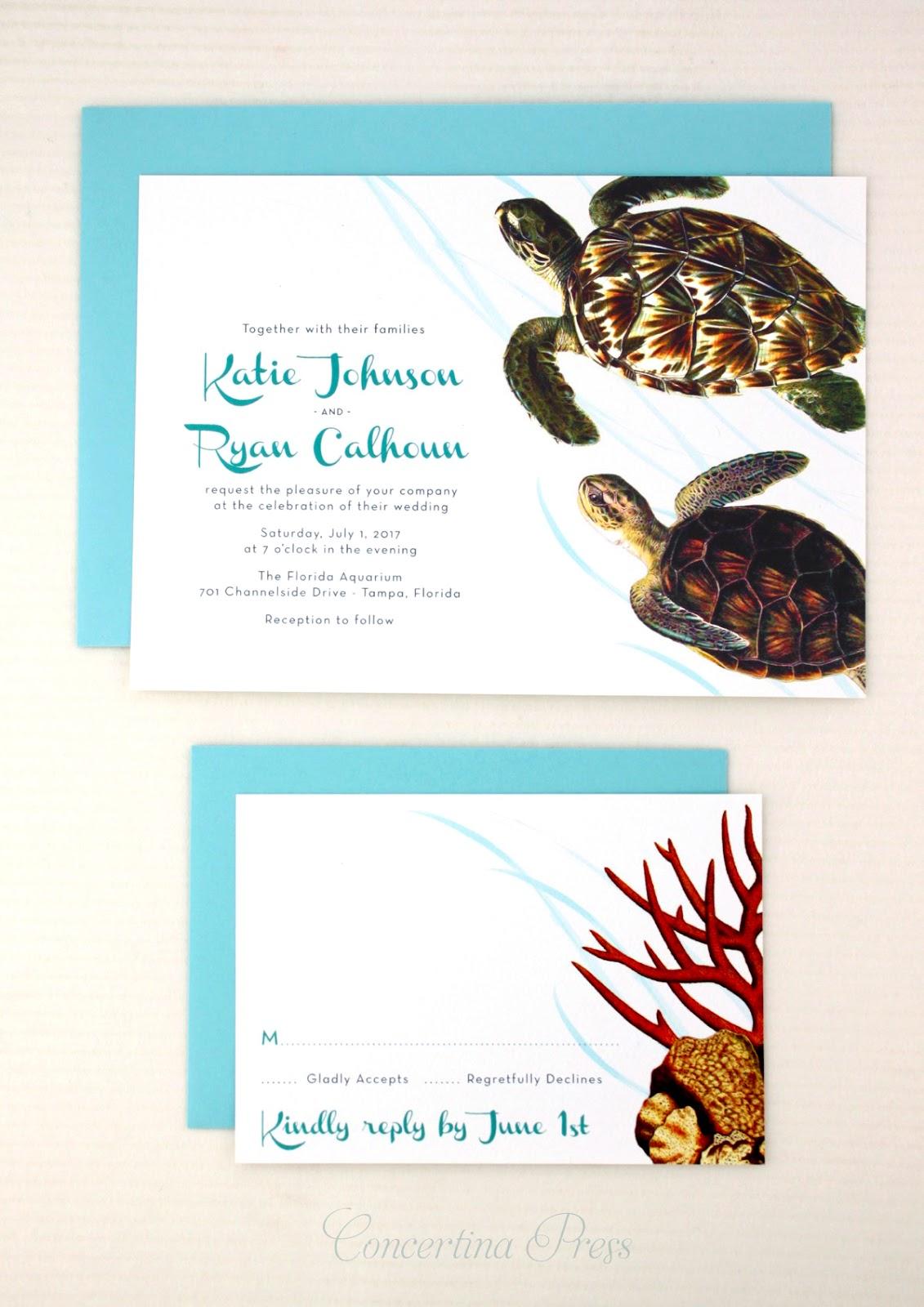 Sea Turtle Wedding Invitations for Florida Beach Wedding from Concertina Press