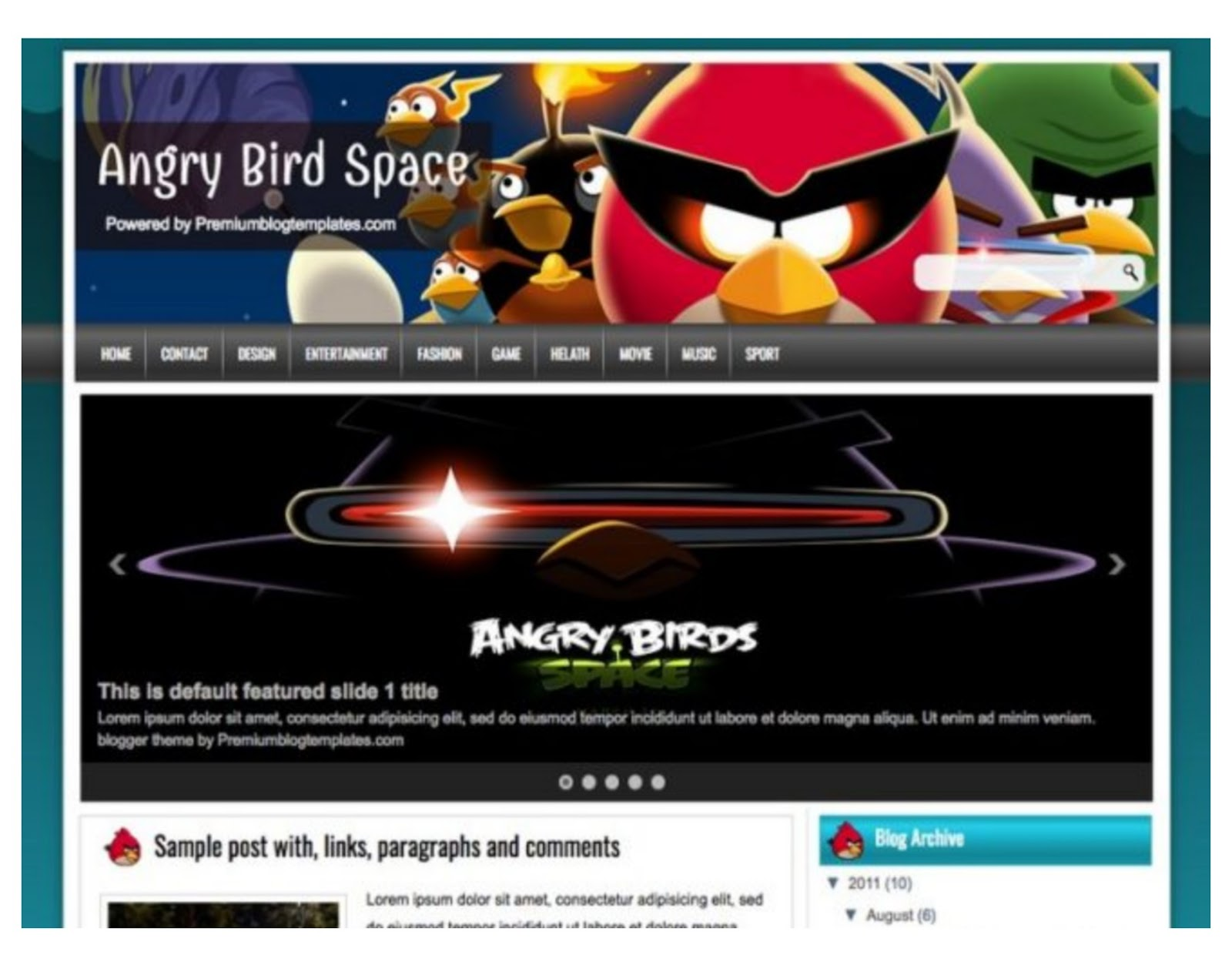 Angry Bird Space Blogger Template