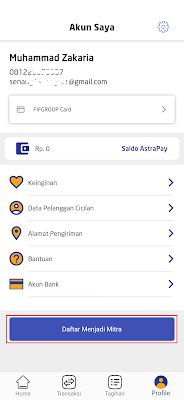 cara daftar menjadi mitra Aplikasi Fifada Android