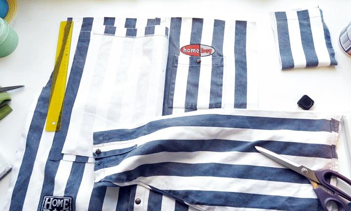 Zuschnitt einer Tasche aus einem Hemd - DIY vonKarin