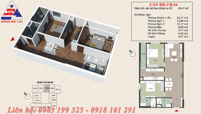Thiết kế chung cư EcoGreen số 1 Giáp Nhị căn 04