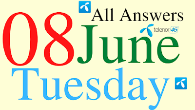 Telenor Quiz Today | 08 June 2021 | My Telenor App Today Questions and Answers | Test your Skills