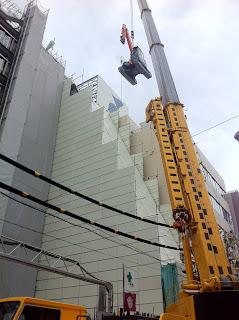 Construction site in Yanagibashi, Taito-ku, Tokyo, Japan.