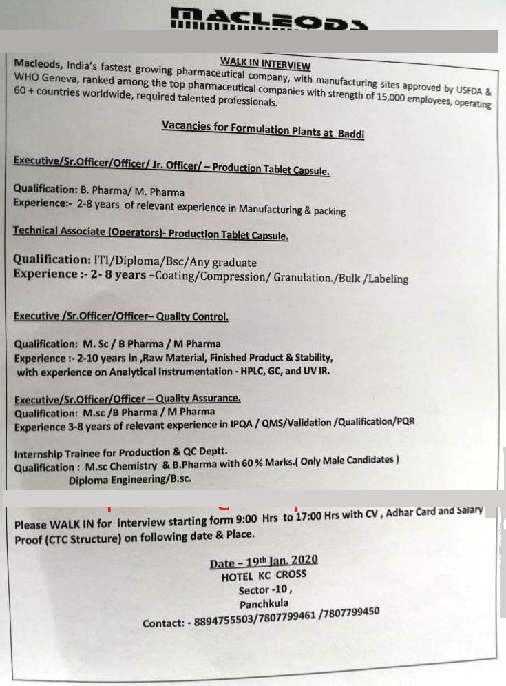 MACLEODS - Walk-In Interview for Freshers & Experienced - Production / QC / QA on 19th Jan' 2020