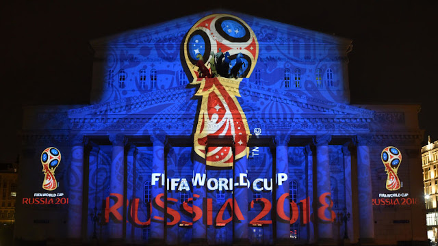 The Russia 2018 World Cup logo on the Bolshoi Theatre in Moscow