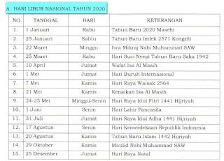 Hari Libur Nasional dan Cuti Bersama Tahun 2020 Hari Libur Nasional dan Cuti Bersama Tahun 2020