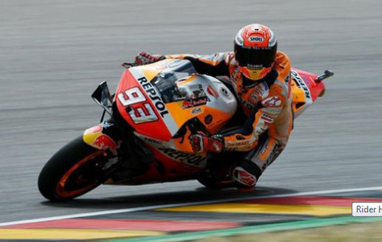 Honda Rider Marc Marquez became the fastest in the German MotoGP qualification. (Photo: Annegret Hilse / Reuters)