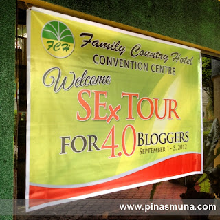 Banner welcoming the SoCCSkSarGen Experience Tour 4.0 participants at the Family Country Hotel in General Santos City