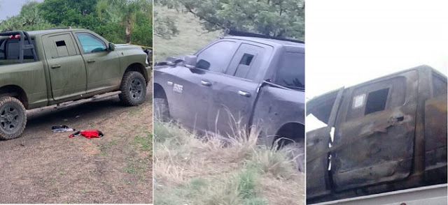 Fotos: Dodge Ram adaptada por Sicarios no aguanto el peso del blindaje y les trono la caja de velocidades en pleno enfrentamiento
