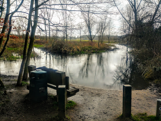 The River Ver just before the left turn on footpath 57