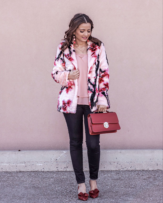 Pink Coat, Red Shoes and Red Bow Heels Blogger Outfit