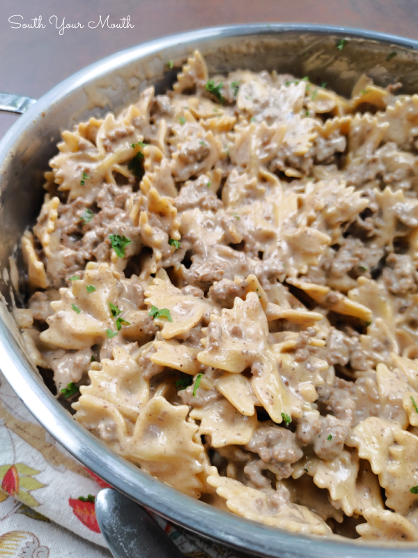 Helpful Hamburger Stroganoff - A family-size recipe for ground beef stroganoff like homemade Hamburger Helper that's quick, easy and surprisingly delicious!