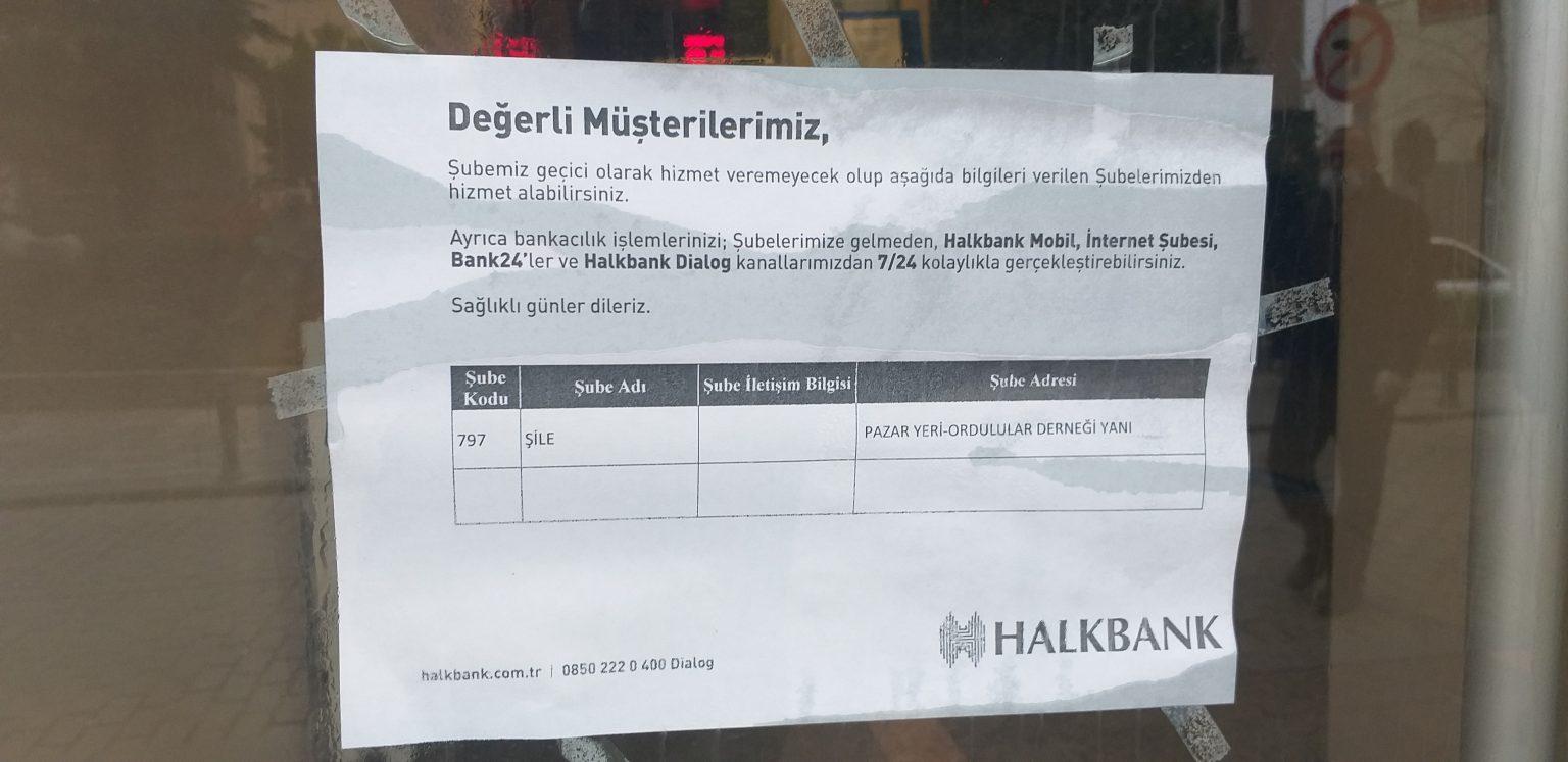 Halkbank Şile Şubesi Tedbir Amaçlı Kapatıldı