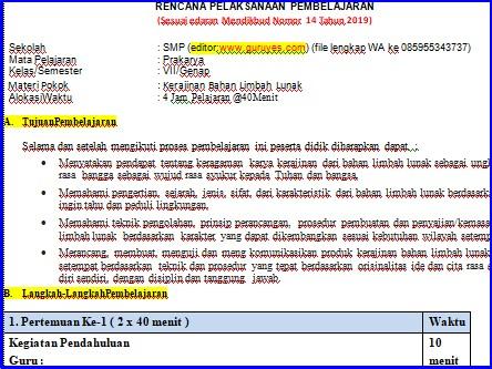 Ini adalah contoh rpp guru 1 lembar prakarya smp kelas 7 semester 2  sesuai surat edaran kemendikbud no 14  tanggal 10 desember tahun 2019 revisi 2020