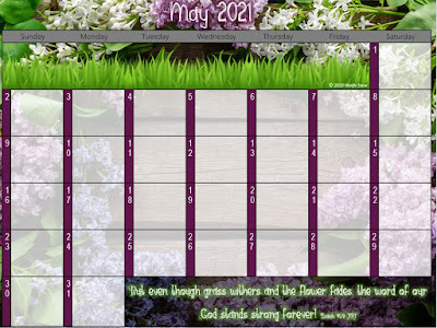Purple floral background overlaid with a blank calendar
