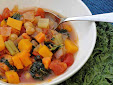 A bowl of Kale, Squash and Bean Soup