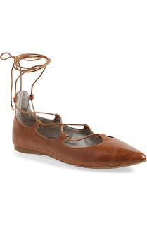 wiązane baleriny l skórzane buty