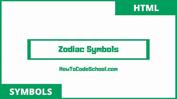 zodiac symbols unicodes and html codes