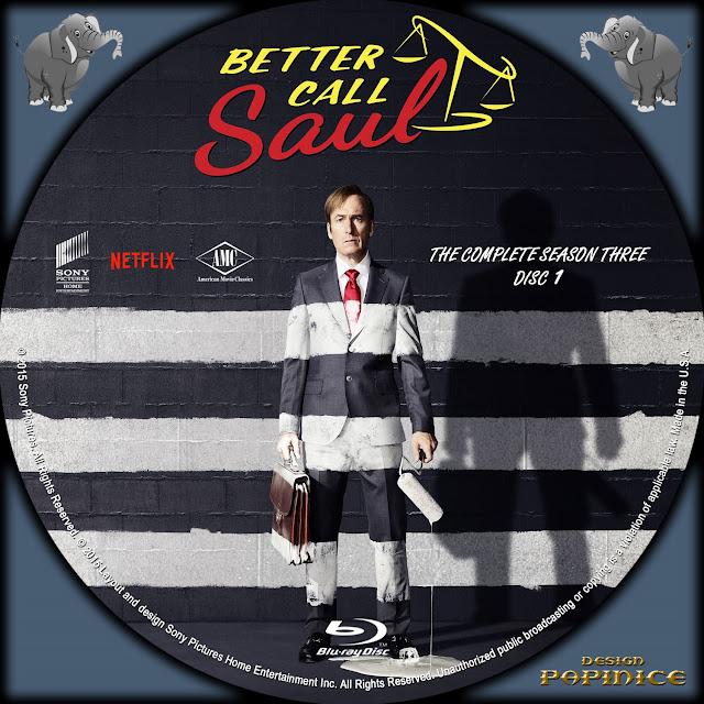 Better Call Saul Season 3 Disc 1 Bluray Label