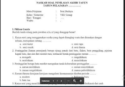 Soal PAS Seni Budaya (SBK) Kelas 8 K13 (PG+Essay) Sem.2/Genap