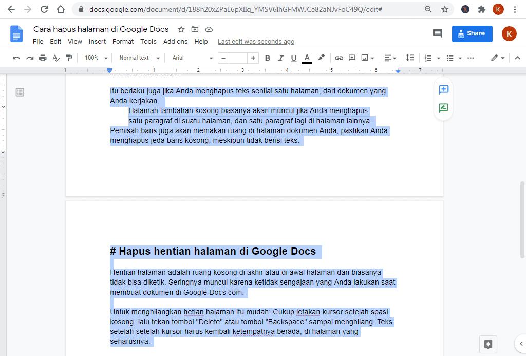 cara hapus halaman di google docs