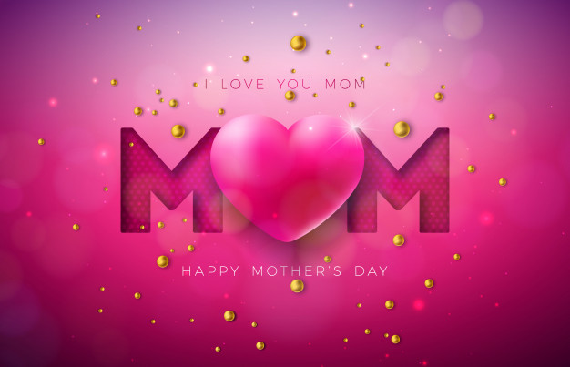 I love you mom. happy mother's day greeting card design with heart and pearl Free Vector