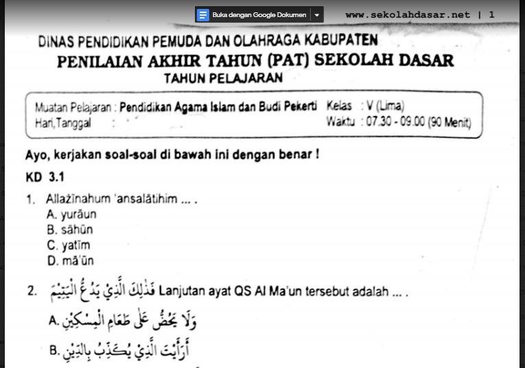 Soal Ulangan Pendidikan Agama Islam Kelas 5 Semester 2 Sekolahdasar Net