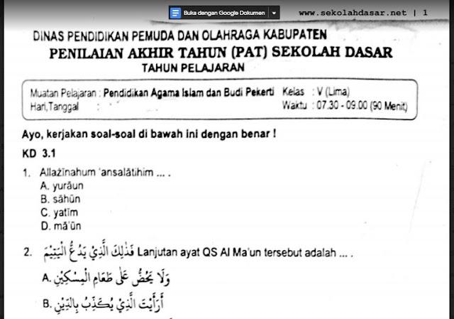 Soal Ulangan Pendidikan Agama Islam Kelas 5 Semester 2