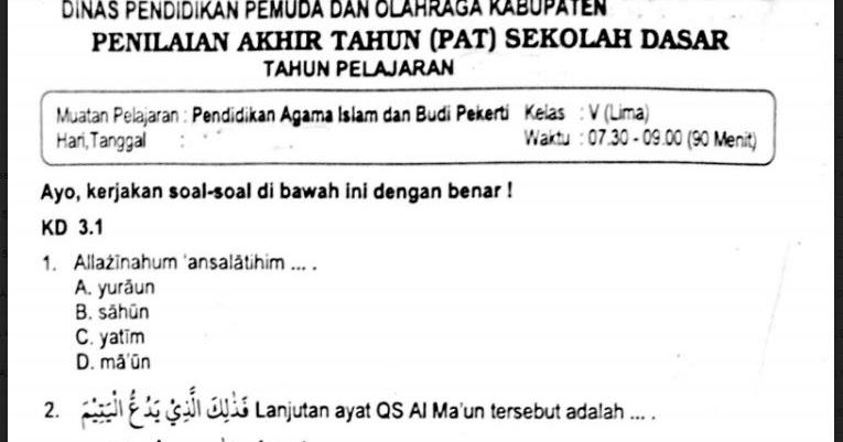 Soal Uas Agama Islam Kelas 5 Semester 1 Kurikulum 2013 Guru Ilmu Sosial