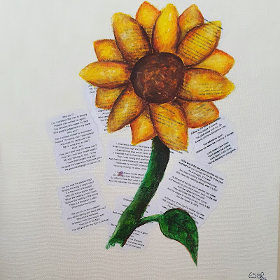 Sunflower by Lizzie Royle Image of flower over cropped out text paragraphs from Les Miserables