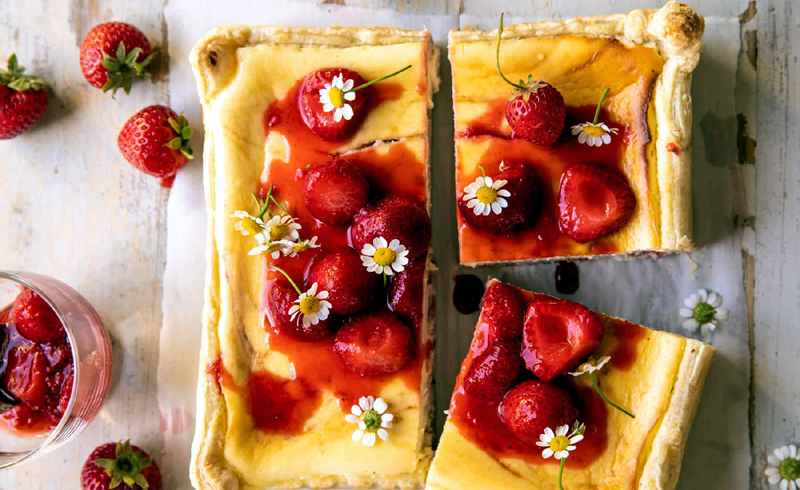 Simple Strawberry Chamomile Cheesecake