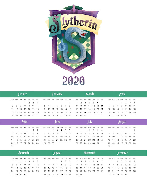 Slytherin: Free Printable 2020 Calendar.