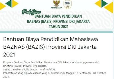 Link Daftar Mendapatkan Bantuan Dana Pendidikan dari Baznas Jakarta Tahun 2021 Buat Mahasiswa Syarat Pendaftaran, Berkas dan Jadwal