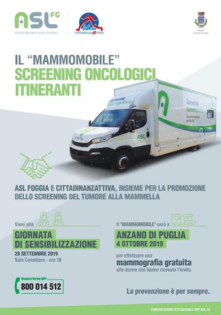 """ASL Foggia e Comune di Anzano di Puglia, insieme contro i tumori con la """"mammomobile"""" in piazza"""