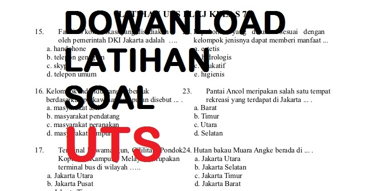 Download Soal Uts Smp Mts Kelas 7 Semester 2 S R W