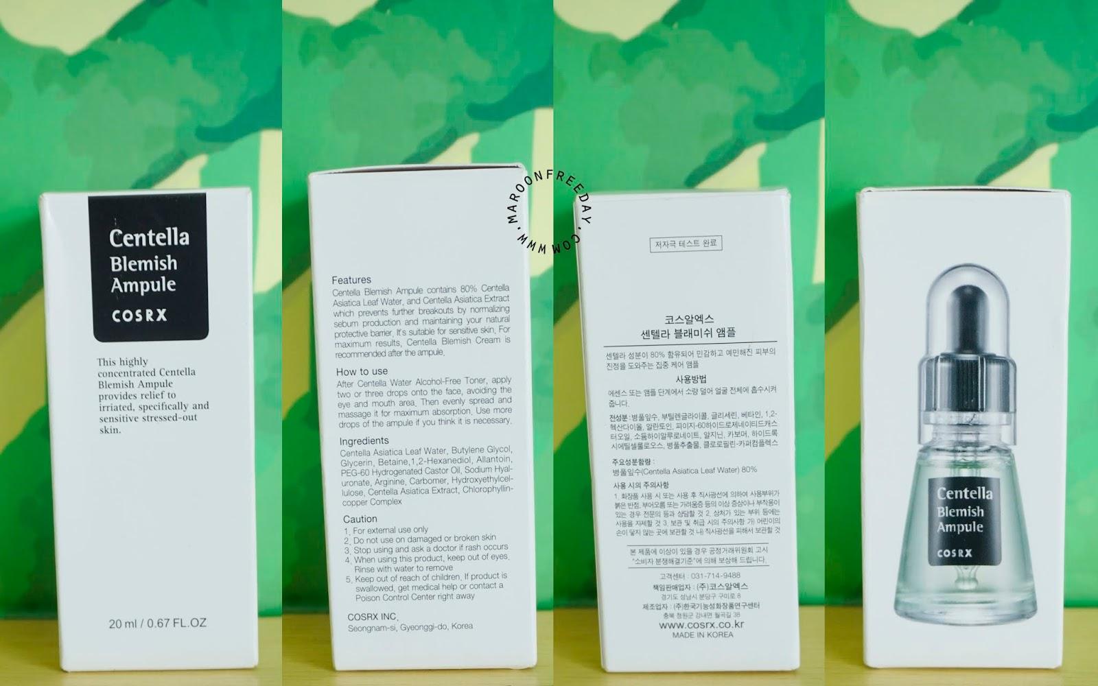 Packaging Cosrx Centella Blemish Ampule