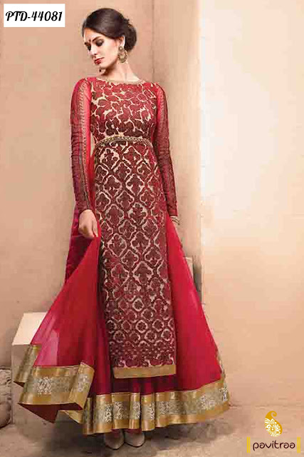 Karva Chauth special maroon net anarkali salwar suit online shopping at pavitraa.in