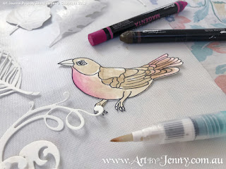 colouring birds behind the scenes of mixed media artwork featuring Mother Nature and the Earth by Jenny James