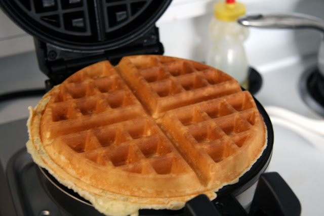 A finished gluten free rice flour waffle