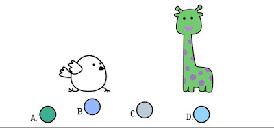 Alt 3 Q 11. Color bird wonders what the giraffe's two colors mixed together would look like. Which berry shows that combination?