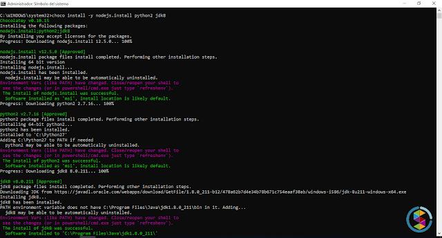choco install -y nodejs.install python2 jdk8
