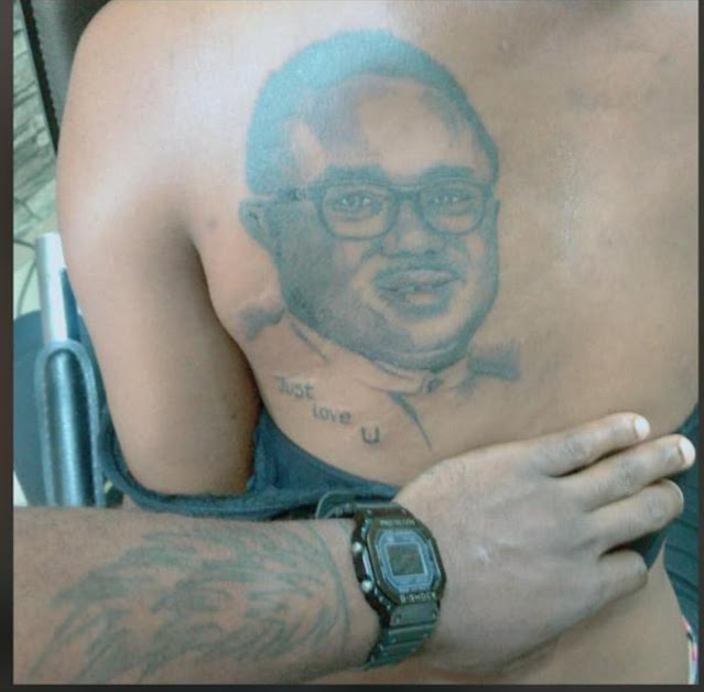 Lady Tattoos Governor of Cross Rivers, Ben Ayade at her back (Photos)