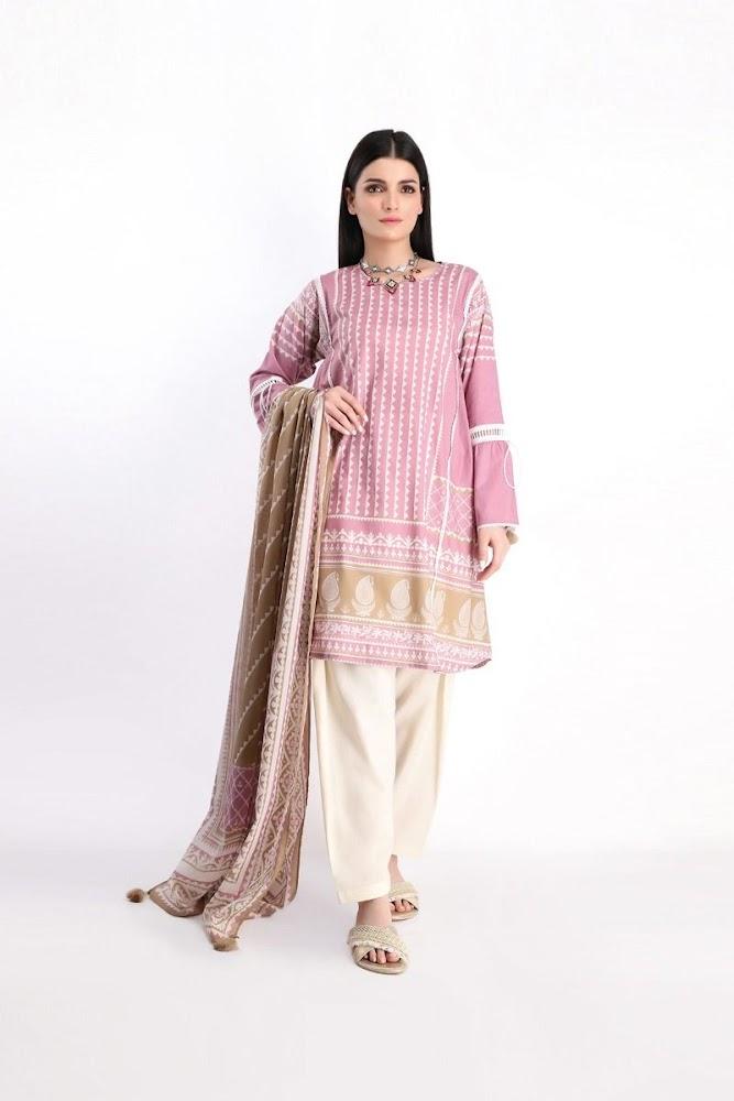 khaadi pink Lawn pirnted shirt dupatta