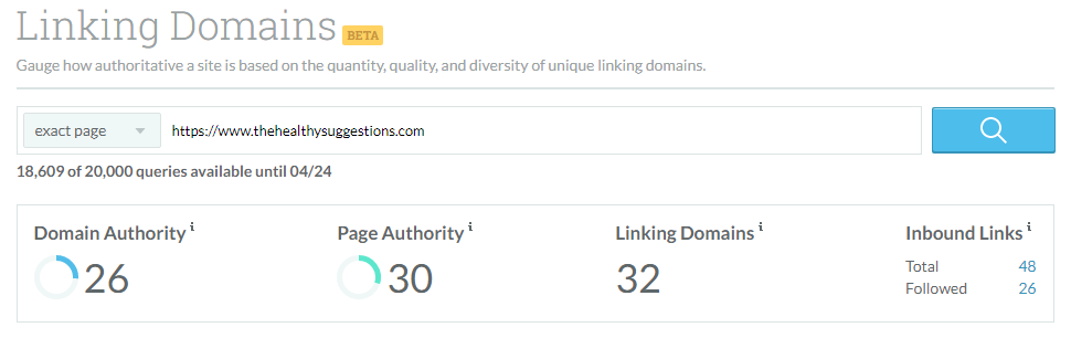 Moz Metrics - The Healthy Suggestions