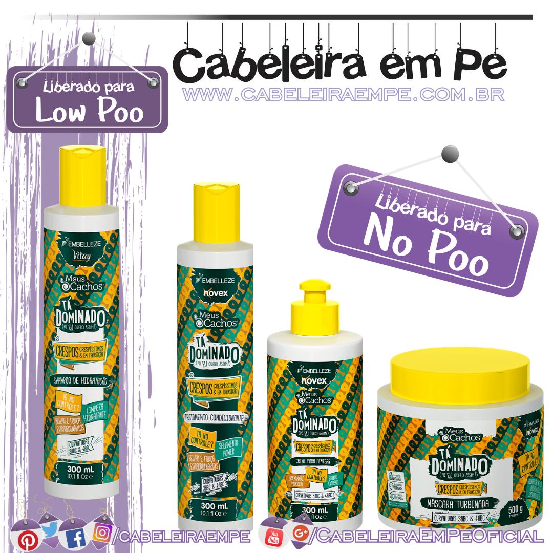 Shampoo (Low Poo), Condicionador, Máscara e Creme para Pentear (Low Poo) Meus Cachos Tá Dominado Crespas - Embelleze