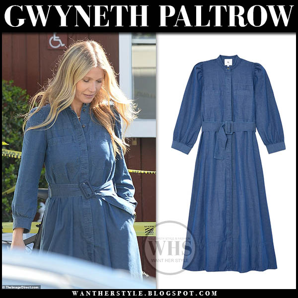 Gwyneth Paltrow wearing denim belted dress g. label spring celebrity outfits february 2019