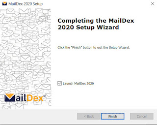 "Screen image of MailDex, ""Completing the MailDex 2020 Setup Wizard"""