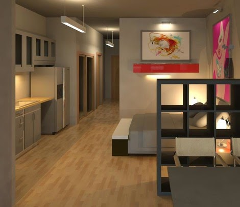 this rendering shows a sleeping area directly across from the kitchen in this loft unit of the savoy loft apartments planned for downtown el paso